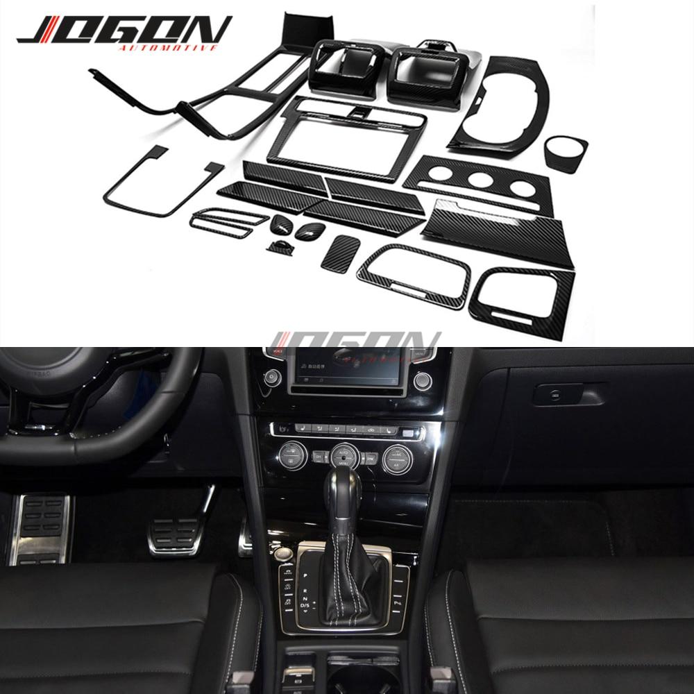 21 Uds con apariencia de fibra de carbono para VW Golf 7 MK7 7,5 GTI R GTD 2014-2018 Kits de diseño Interior de coche consola perilla de engranaje puerta Panel embellecedor