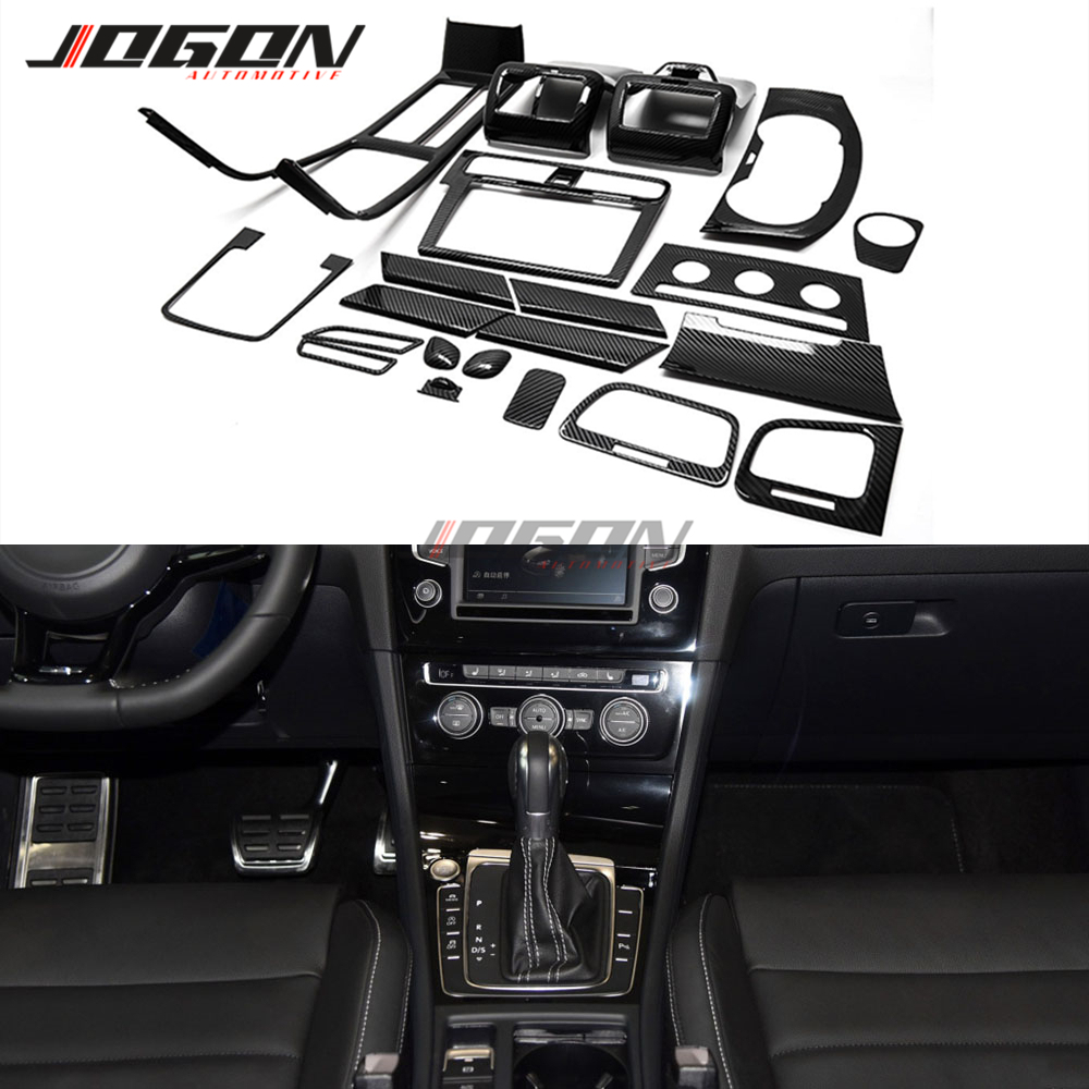 21 stücke Carbon Look Für VW Golf 7 MK7 7,5 GTI R GTD 2014-2018 Auto Styling Innen kits Konsole Getriebe Knob Tür Panel Trim