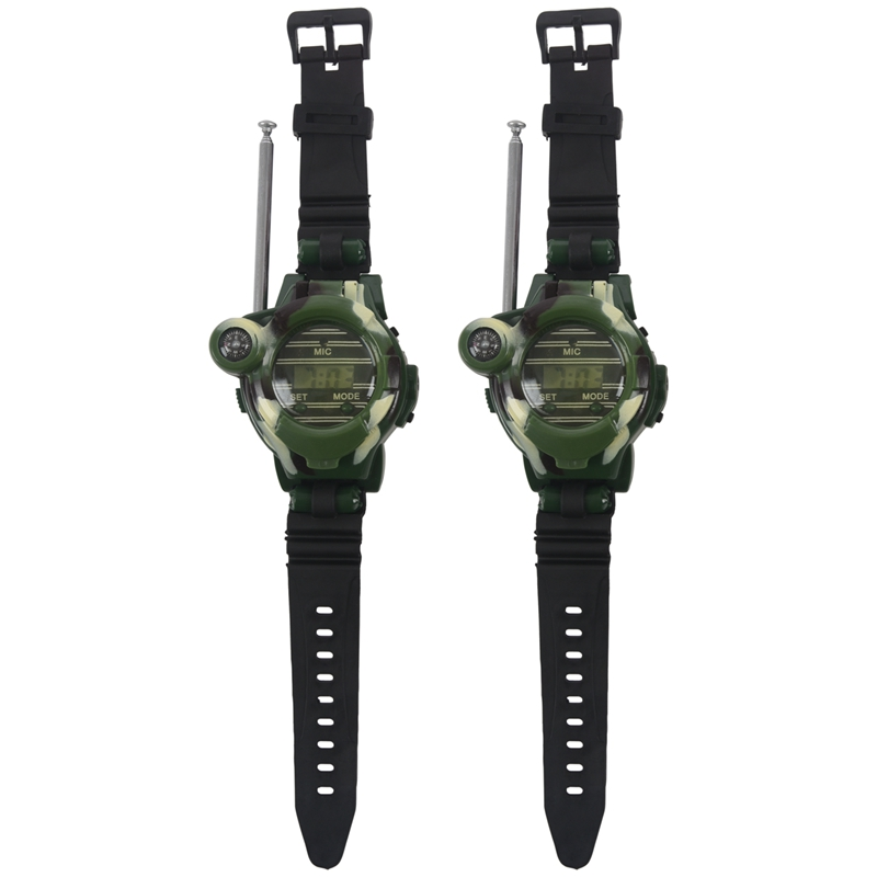 1 Pair LCD Radio 150M Watches Walkie Talkie 7 In 1 Children Watch Radio Outdoor Interphone Toy (Color: Green)