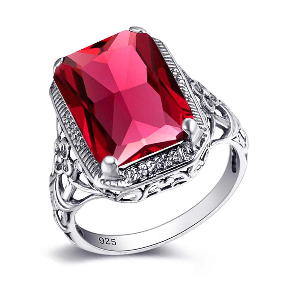 Red Ruby Gemstone Rings for Women Rectangle 925 Sterling Silver Ring Wedding Engagement Gift Original Vintage Handmade Jewelry