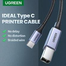 Ugreen usb c para usb tipo b 2.0 cabo para novo macbook pro hp canon irmão epson dell samsung impressora tipo c cabo do varredor da impressora