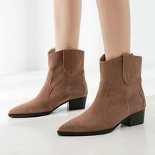 2020 nowe klasyczne dziecięce botki zamszowe dla kobiet stary efekt szpiczasty nosek kocie obcasy Chelsea Boots zachodnie kowbojskie buty zimowe tanie tanio YD-EVER CN (pochodzenie) Prawdziwej skóry Skóra bydlęca ANKLE Rzym Stałe Plac heel WESTERN Mikrofibra Zima Z poliuretanu