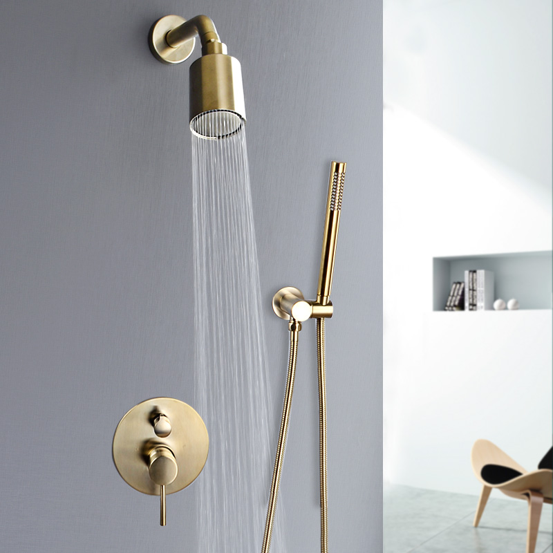 Wall Mounted Bathroom Top Sprayer Brushed Gold Shower Faucet Set Wall Mounted Bathroom Top Sprayer Brushed Gold Shower Faucet Set
