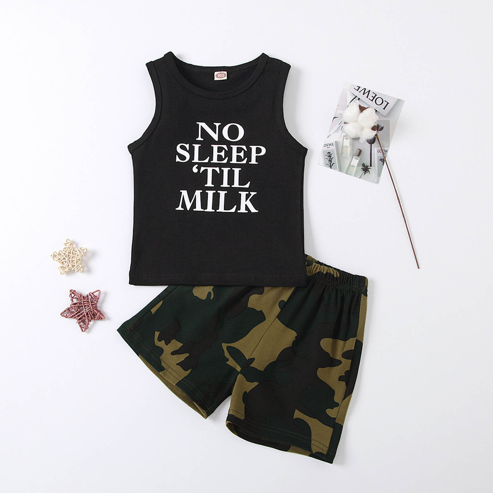 Newborn Infant Baby Boys Sets Fashion Sleeveless Letter Print Vest Tops Camouflage Shorts Outfits Set Summer Baby Boy Clothes