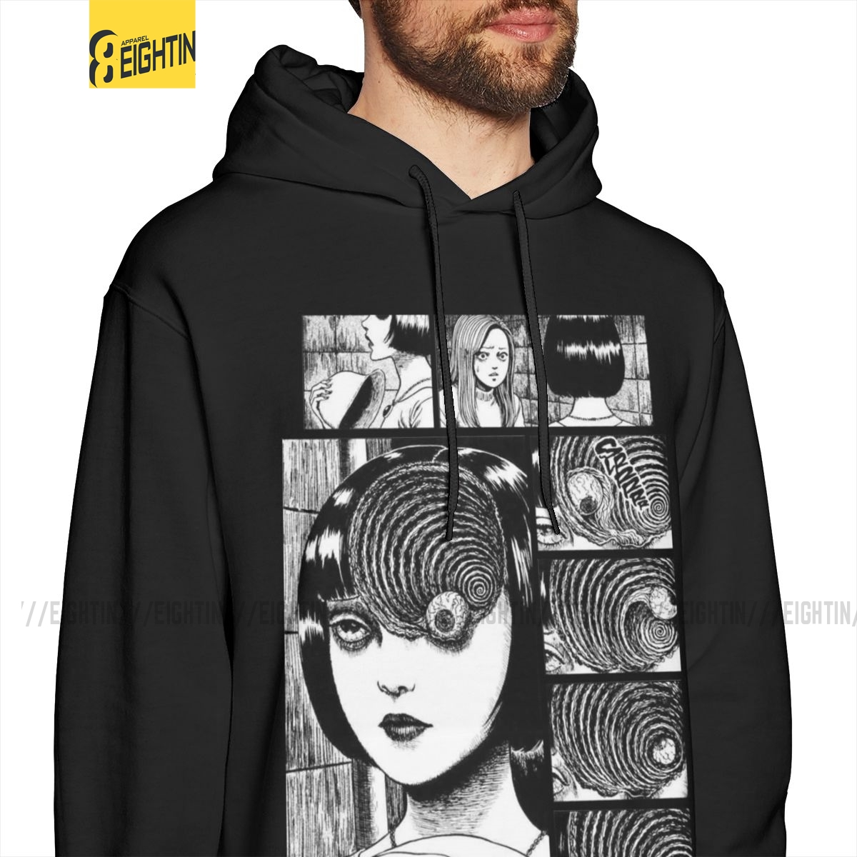Men Uzumaki Junji Ito Sweatshirts Horror Manga Hoodies White Purified Cotton Hooded Stylish Hoodie Shirt