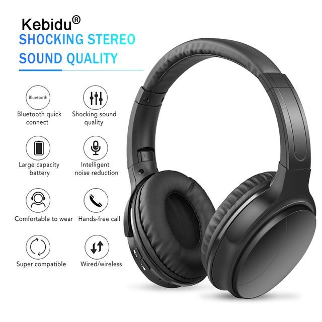kebidu Portable Wireless Headphones Bluetooth Stereo Foldable Headset Audio Mp3 Adjustable Music Earphones with Mic