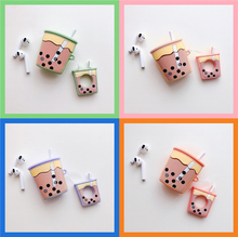 3D Cute Milk Tea Drink Shockproof Headphone Silicone Case For Apple Airp ods Protection Earphone Cover  Earpods