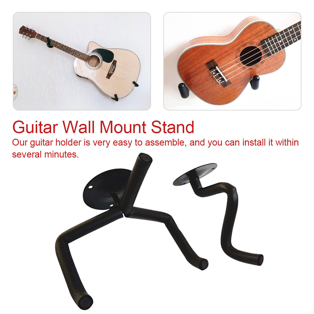 5x Horizontal Electric Guitar Hanger Hook Holder Wall Mount Display New