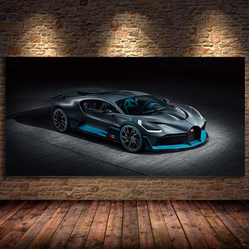 Unframed Canvas Painting BUGATTI 2018 Chiron Sport Red Car Concept Wall art Picture Silk Posters Prints Modern Home Decorations 1