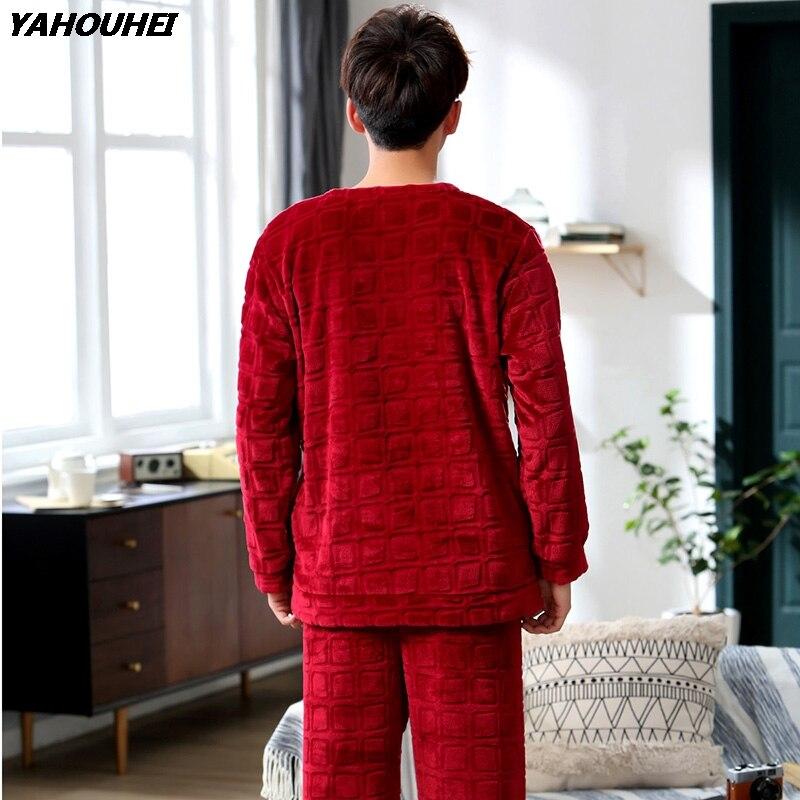 Толстые теплые фланелевые пижамы для мужчин 2018 зимняя одежда для сна с длинным рукавом и буквенным принтом Коралловая бархатная Пижама