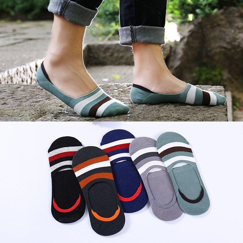 Men Cotton Socks 5 Pairs/lot Summer No Show Stripped Socks Man Invisible Socks Summer Socks VKMONY