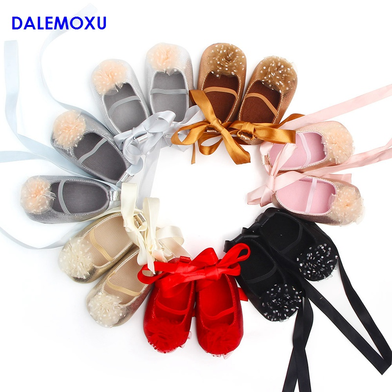 DALEMOXU Baby Flower Princess Shoes Infant Glitter Toddler Dress Dance shoes Cute Yarn Non-slip Sneaker 0-1 Years Old