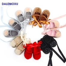DALEMOXU Baby Flower Princess Shoes Infant Glitter Toddler Dress Dance shoes Cute Yarn Non-slip Sneaker 0-1 Years Old