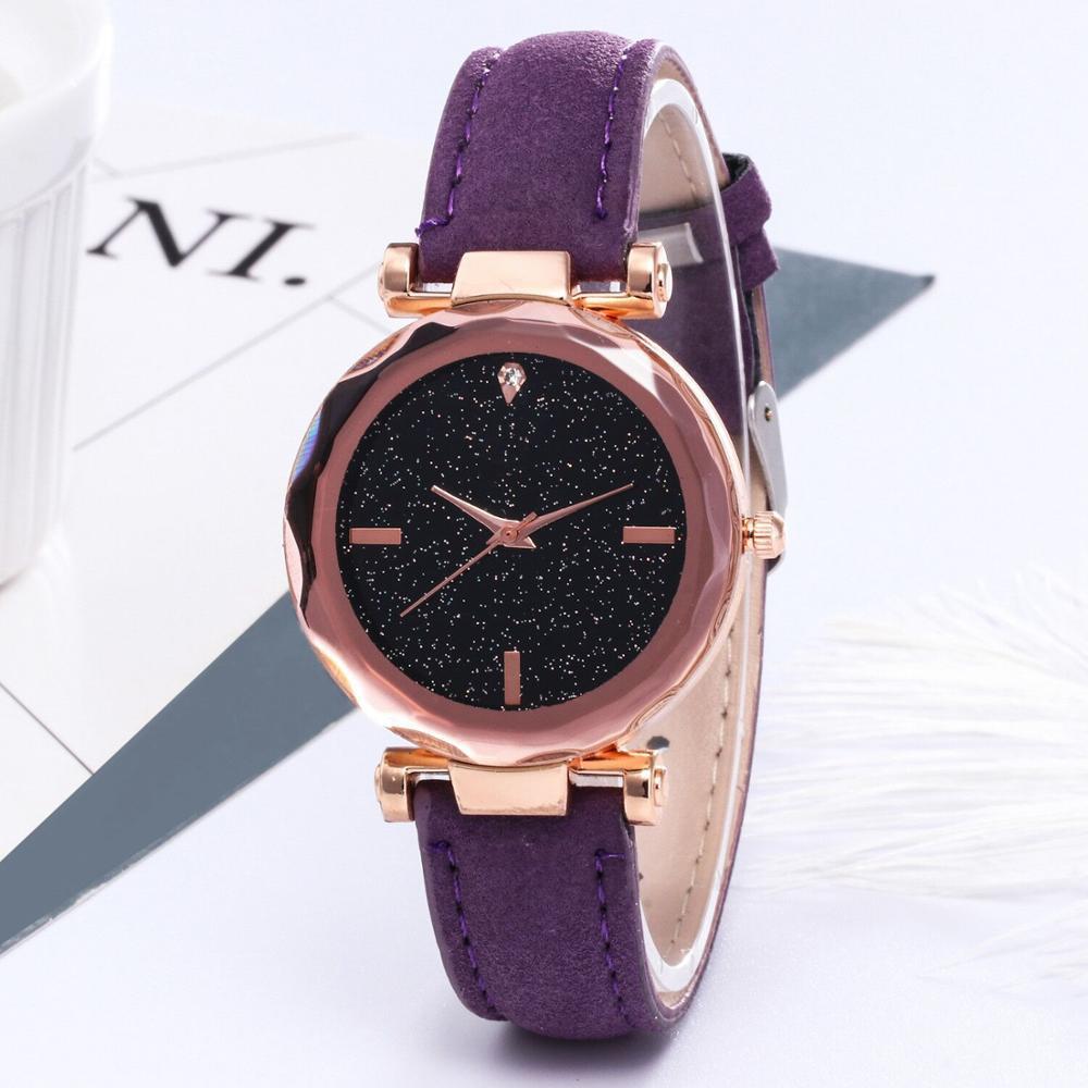 Lady Starry Sky Watch Rhinestones Women PU Leather Quartz Wristwatch Female Gift Hand Watch Relogio Masculino Uhren Relojes