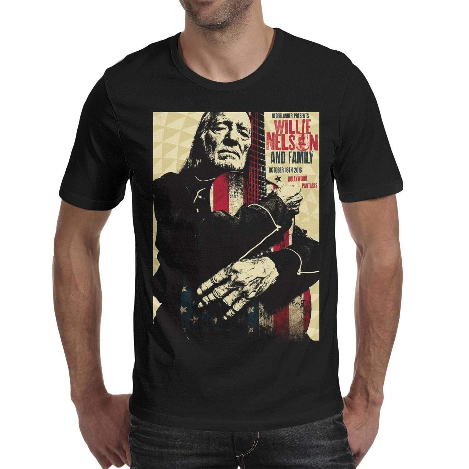 Young Men Willie-Nelson-Pantages- Short Sleeved Cotton Tee Shirt  New Fashion Men'S T Shirt