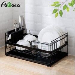 Cozinha escorredor prato grande rack de secagem com bandeja de gotejamento talheres cesta de armazenamento anti-ferrugem metal escorredor prateleira para cozinha