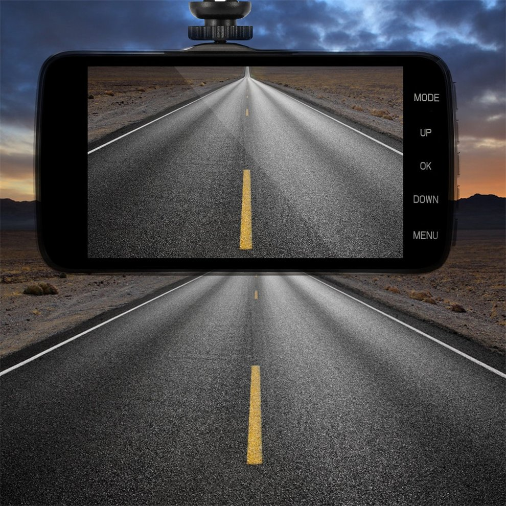 Compact Black 4 inch IPS Screen Dual Core CPU 1200W H.264 140 Degree Super Wide Angle Car DVR Dash Camera