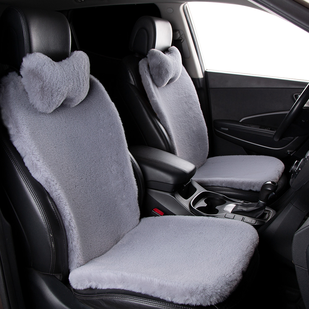 KAWOSEN Faux Rabbit Fur Car Seat Cover Universal Artificial Plush Car Seat Cushion Winter Warm Automobile Red Seat Covers FFSC04