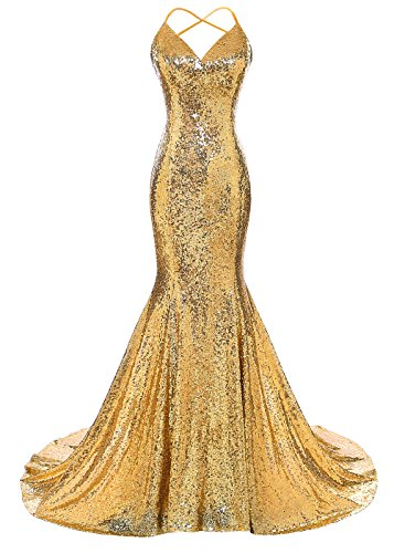 Bling Sequins Mermaid Evening Party Dresses Sleeveless Prom Evening Gowns Candy Color Deep V-neck Formal Gowns For Women