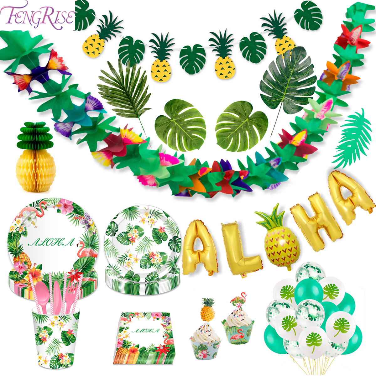 FENGRISE Palm Leaf Hawaiian Party Decorations Hawaii Tropical Party Summer Flamingo Party Luau Wedding Decor Aloha Pineapple