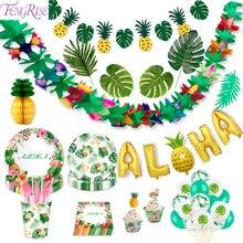 FENGRISE decoración para fiesta Hawaiana de hoja de palma diseño tropical Hawái fiesta de verano flamenco fiesta Luau decoración de boda Aloha piña