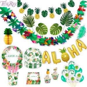 FENGRISE Palm Leaf Hawaiian Party Decorations Hawaii Tropical Party Summer Flamingo Party Luau Wedding Decor Aloha Pineapple(China)