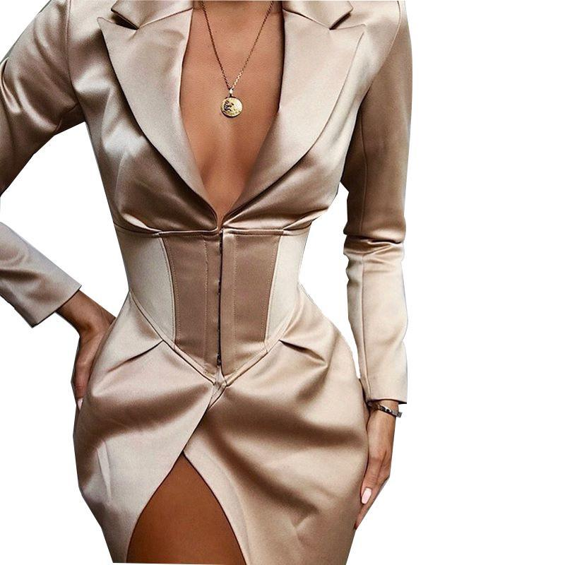 V Neck Khaki Sexy Blazer Dress Women Autumn Winter Bodycon Elegant Thin Coat Outwear Female Party Club Night Blazer