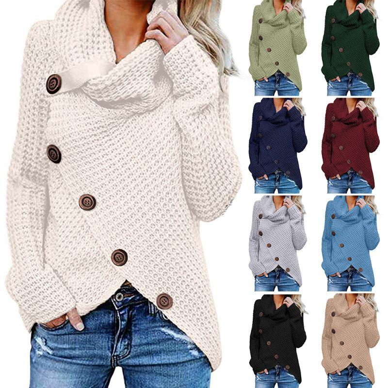 Women Winter Autumn Long Sleeve Pullover Tops Turtleneck Oblique Buttons Waffle Knitted Irregular Hem Loose Sweatshirt