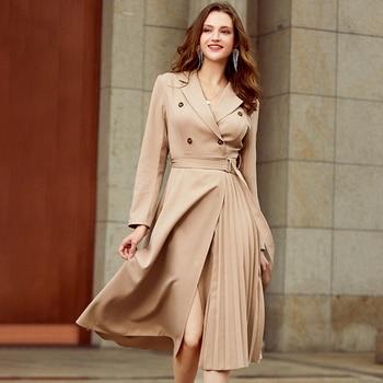 Simplee Casual suit collar autumn women dress Long sleeve office lady asymmetrical long dress Slim with belt A-line female dress
