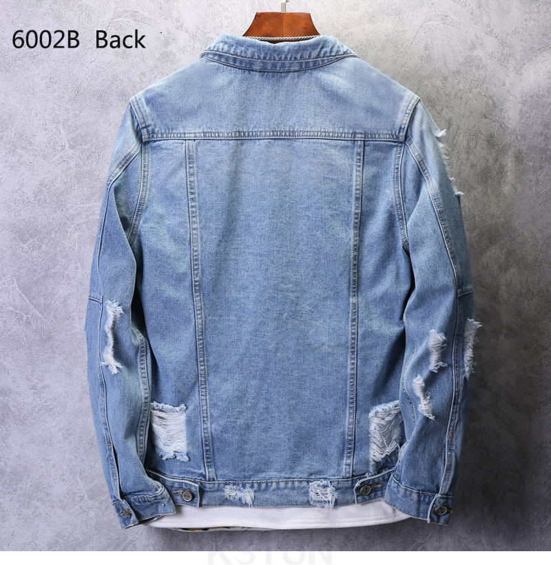 KSTUN Mens Jean Jacket Coats Light Blue Streetwear Loose Fit Ripped Denim Jacket for Man Teens Single-breasted Large Size 4XL 13