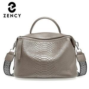 Image 1 - Zency Crocodile Pattern Women Tote Handbag Made Of Genuine Leather Daily Casual Crossbody Shoulder Bag For Lady Black Grey