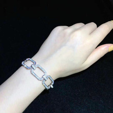 Qi Xuan_New Chain Female Sterling Silver Simple Niche Design S925 Plated Square Bracelet Temperament