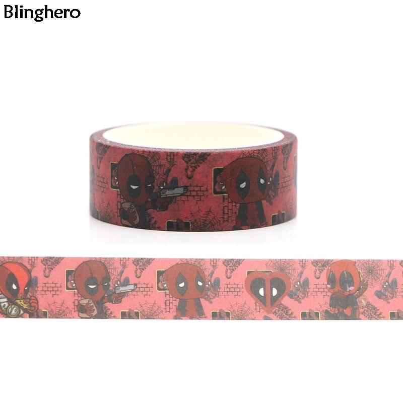 Blinghero Cool Guy 15mmX5m My Hero Washi Tape DIY Masking Tape Adhesive Tapes Cartoon Decorative Tapes Fashion Decal BH0043