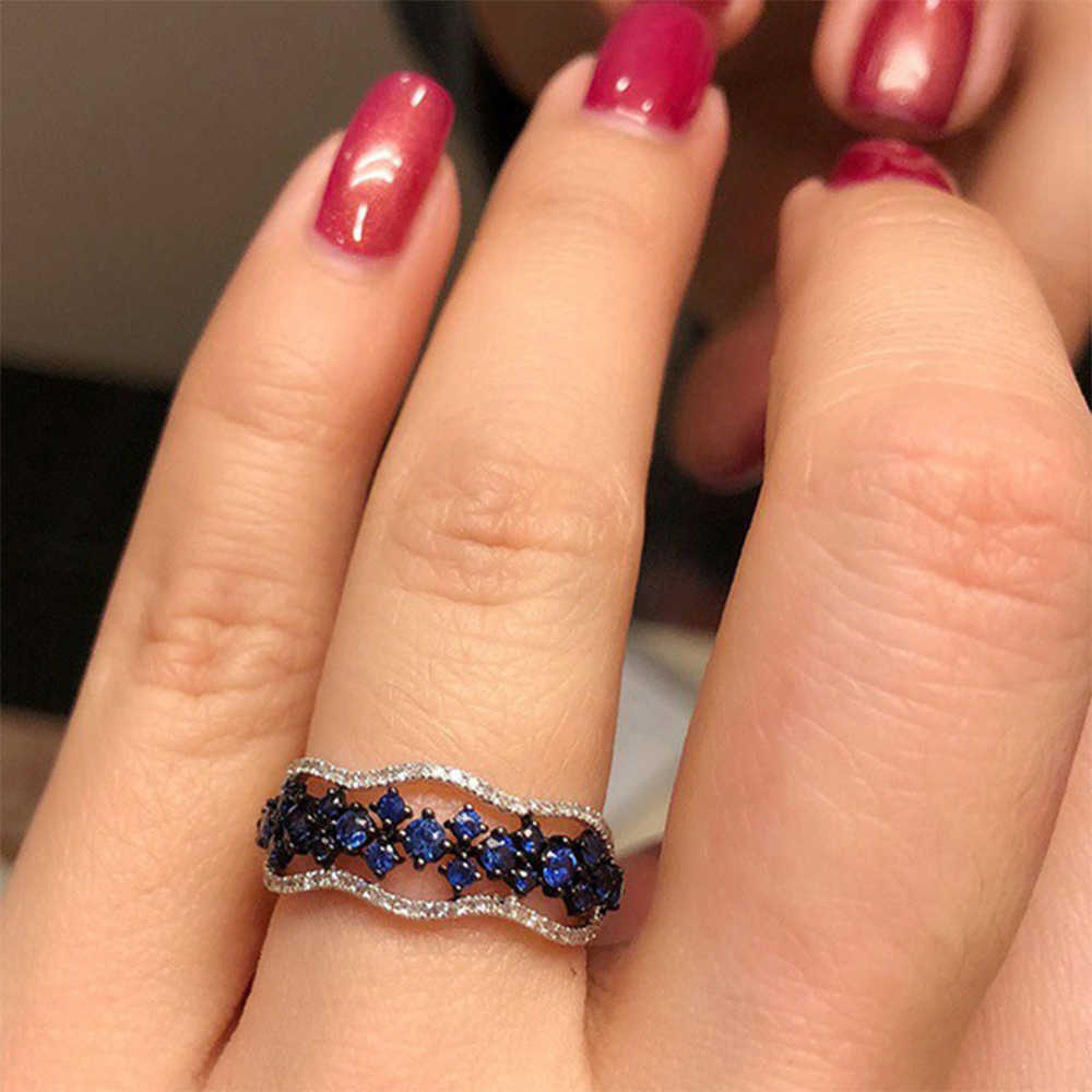 Women Blue Mini Zircon Hollow Ring Multilayer Fashion Wedding Ring Accessories Engagement Girlfriend Heartbeat Satisfaction Gift