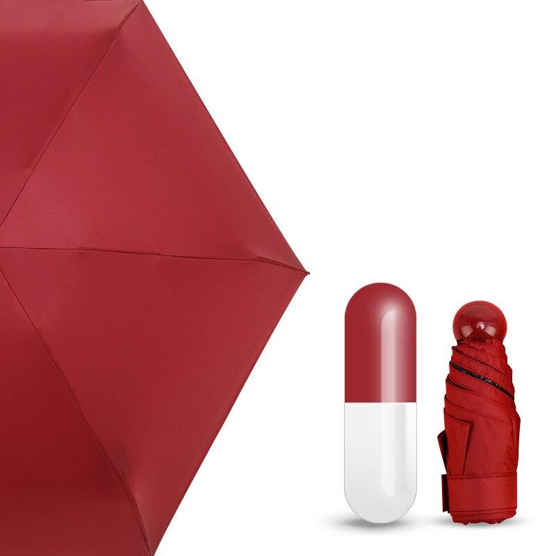 Мини-капсула зонтик пятискладной солнцезащитный анти-УФ UPF50+ Зонт parapluie складной женский Карманный Зонт для женщин - Цвет: Red capsule