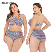New Sexy Plus Size Swimsuit Checkered Print Bikini Women Hollow Bandage Swimwear L-4XL Girl High Waist Bathing Suit Set