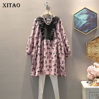 XITAO Large Size Pleated Dress Women Fashion New 2019 Autumn Print Pattern Pullover Elegant Lovely Style Korea Dress WLD2656