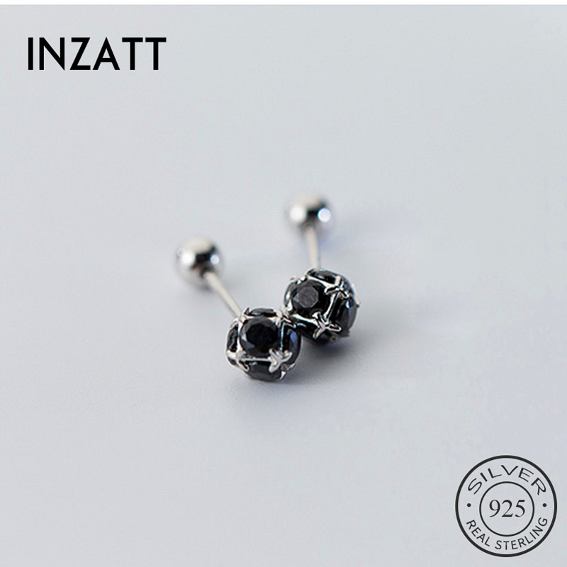 INZATT Real 925 Sterling Silver Minimalist Zircon Round Stud Earrings For Fashion Women Party Fine Jewelry Accessories Gift