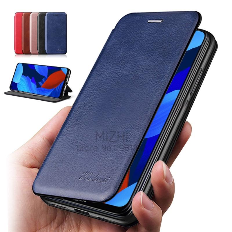 Luxus leder flip telefon fall für huawei nova 5 t yal-l21 stand fällen auf huwei nova 5 t nova 5 t t5 yal-l41 karte brieftasche abdeckung etui