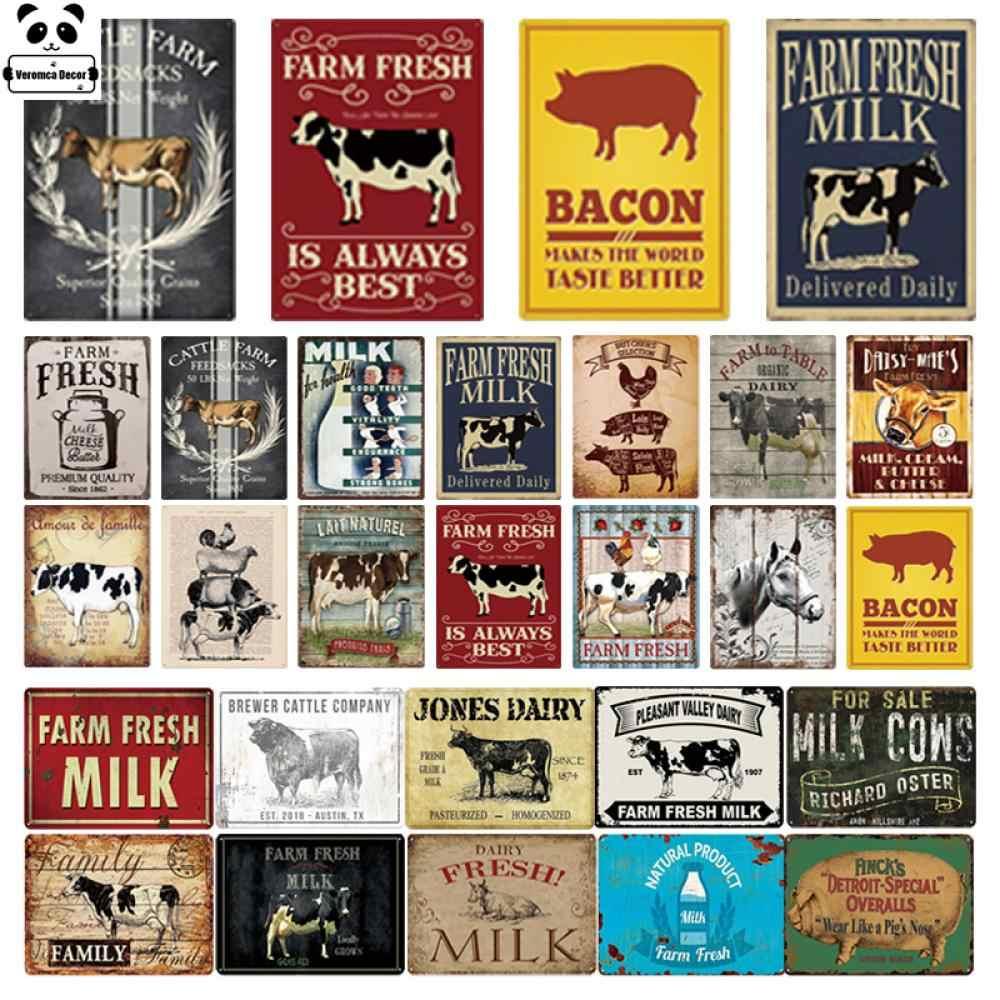 "Retro Metal Tin Signs Fresh Milk Poster Plate Cafe Art Wall Decor 7.8*11.8/"""