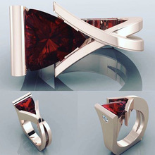 Fashion 2019 Red Heart Cubic Zircon Ring Delicate Ladies Crossed Design Geometric Triangle Stone Wedding Rings Jewelry P4T252