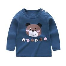 Новые осенние Одежда для детей; малышей; девочек и мальчиков топы с длинными рукавами Хлопковое платье с круглым вырезом, футболка-блузка; одежда для малышей