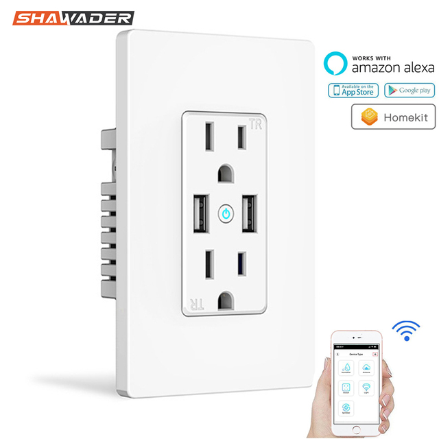 WiFi Smart Wall Socket US Wireless Electric Plug Outlets Touch Panel Control Homekit Duplex Receptacle Work by Alexa Google Home
