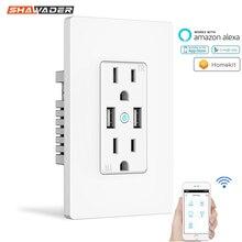 Wifi Smart Stopcontact Ons Draadloze Elektrische Plug Outlets Touch Panel Controle Homekit Duplex Bakje Werk Door Alexa Google Thuis