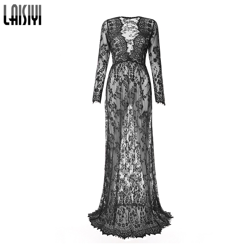 LAISIYI Women Sexy Dresses Autumn Floor Length Black White Lace Dress Adjust Waist See Through Floral Vestido Transparent DR5046