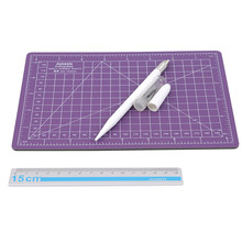 Hand Account Art Pen Knife A5 Cutting Pad Set Engraving Pen Knife Aluminum Ruler Cutting Mat Three-piece Set Stationery(China)