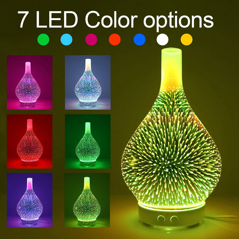 XMX-3D Firework Glass Vase Shape Air Humidifier with 7 Color Led Night Light Aroma Essential Oil Diffuser Mist Maker Ultrasonic
