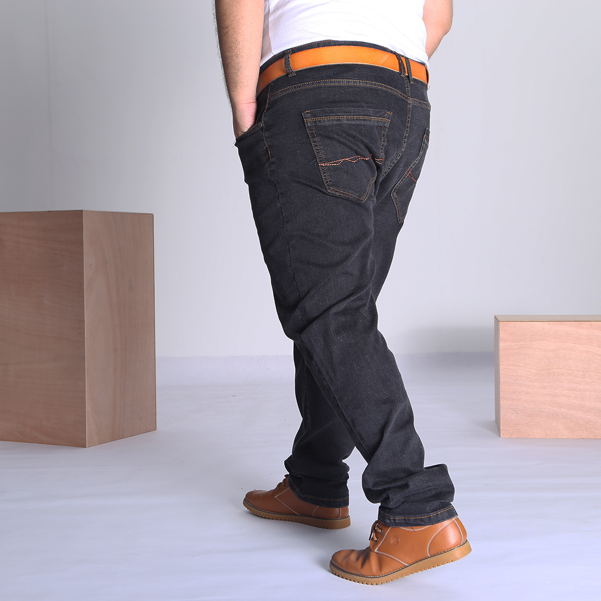 Xd14011 Autumn And Winter High-waisted Elasticity Plus-sized Jeans Men's Lard-bucket Loose And Plus-sized Fat Pants 36-52