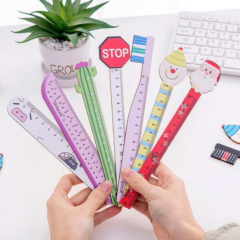1 Pcs Cute 15cm Santa Claus Clown Toothbrush Pig Cactus Fruits Wooden Rulers Stationery Straight Ruler Tool Office School Gifts