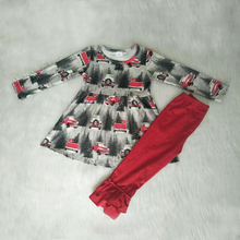 Fancy Little Girls Baby Clothes Sets Car Christmas Wholesale Custom Toddler Kids Clothing Fall Boutique Outfit Dropshipping 6p510 wholesale baby kids boutique clothing lots